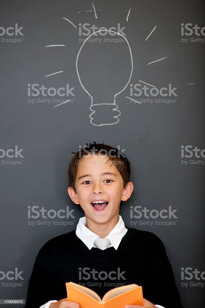 Little Boy with a Bright Idea stock photo
