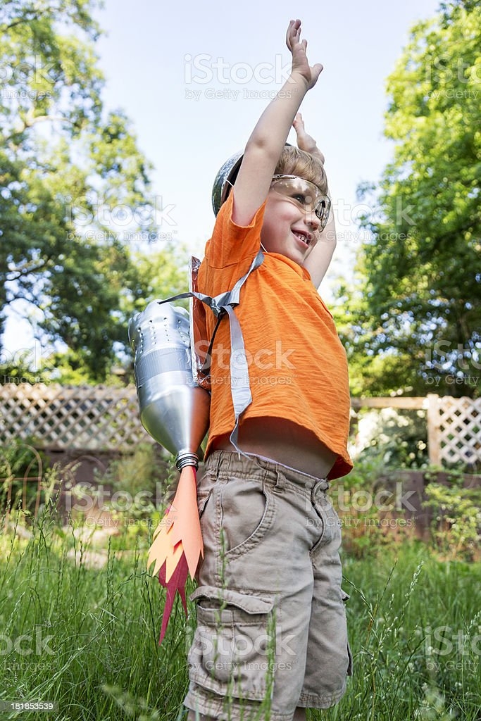 Little Boy with a Jetpack royalty-free stock photo