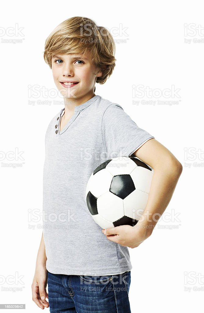 Little Boy With a Soccer Ball - Isolated stock photo