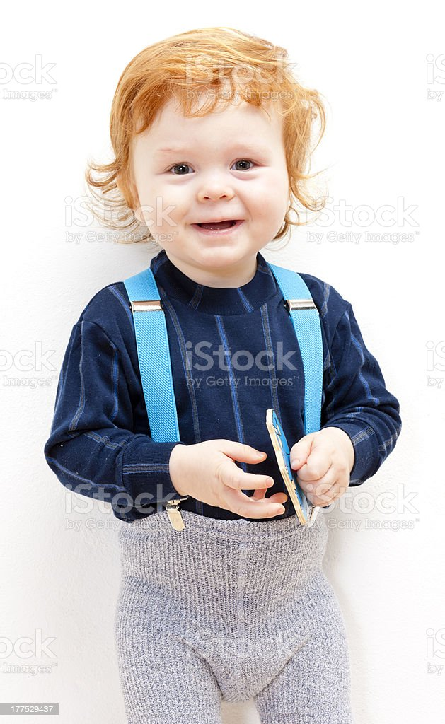 little boy with a toy stock photo
