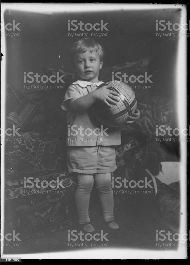 little boy with ball (vintage) royalty-free stock photo