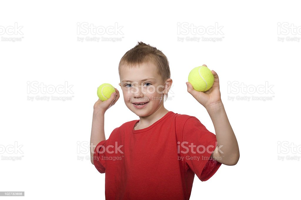 Little boy with balls for tennis royalty-free stock photo
