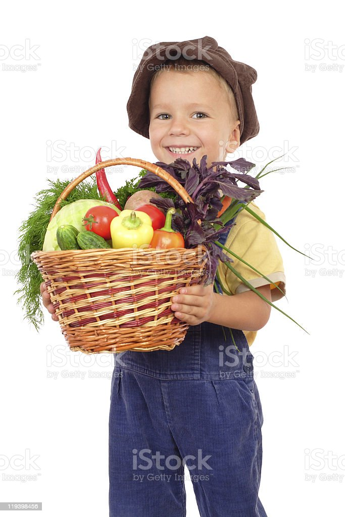 Little boy with basket of vegetables royalty-free stock photo