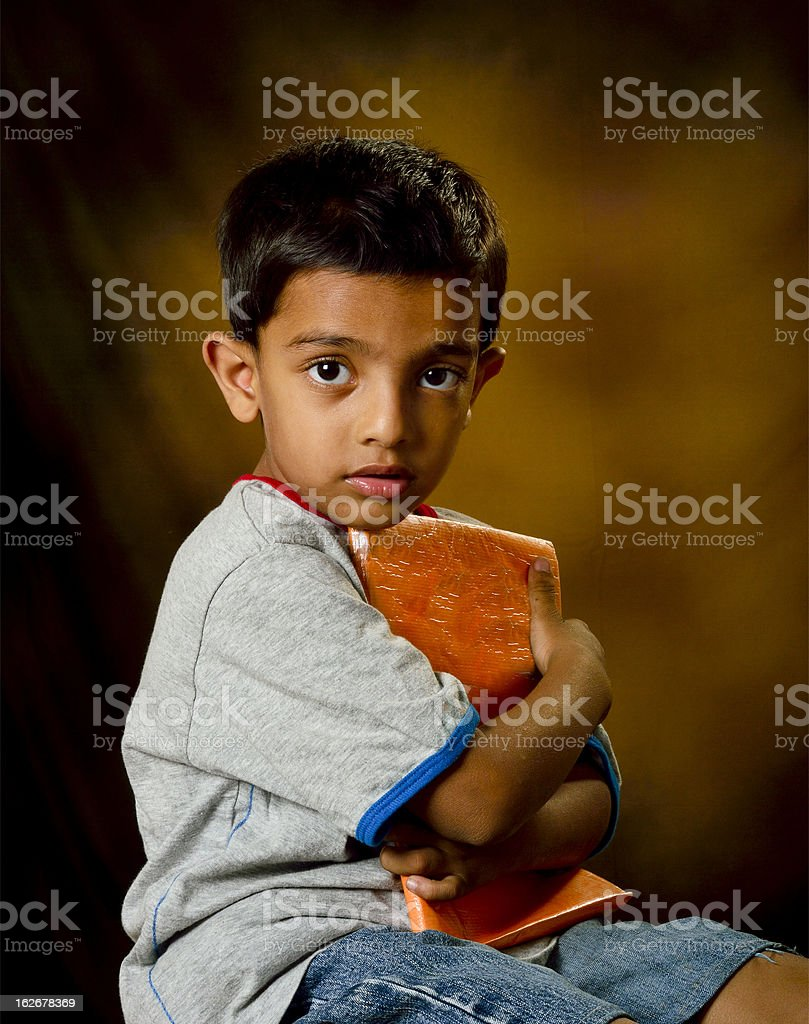 little boy with book royalty-free stock photo
