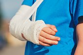 Little boy with broken hand