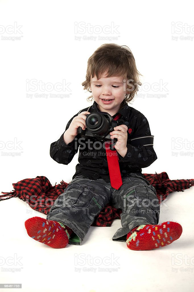 Little boy with camera royalty-free stock photo