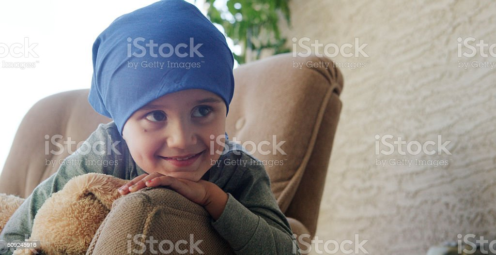 Little Boy with Cancer in the Hospital stock photo