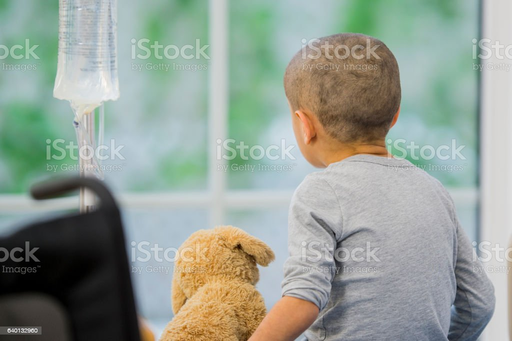 Little Boy with Cancer stock photo