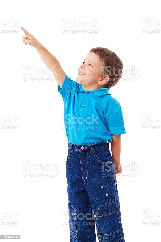 Little boy with empty pointing lifted up hand royalty-free stock photo