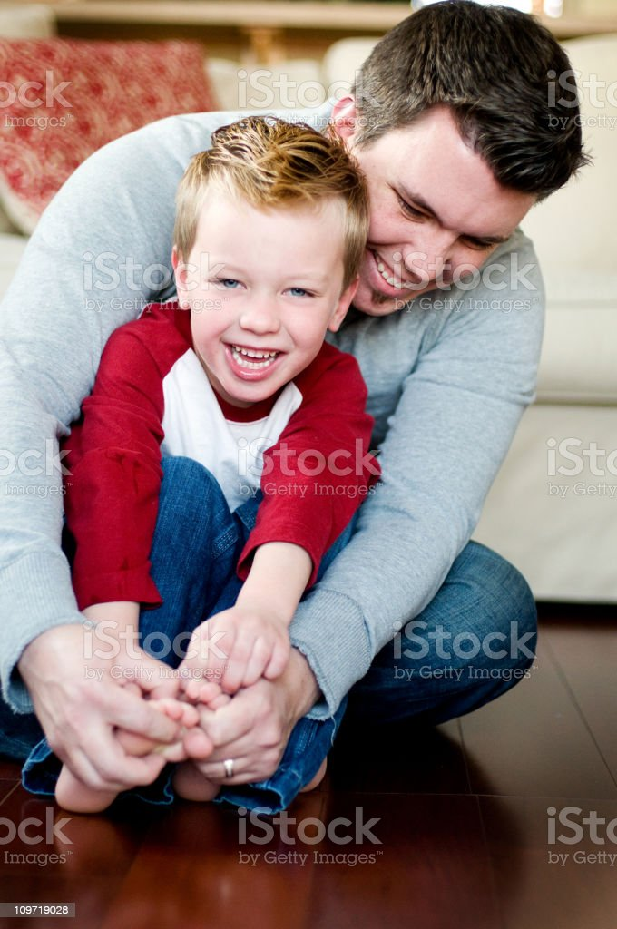 Little Boy with Father stock photo