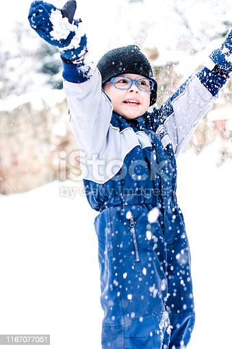 Little boy is playing in snow