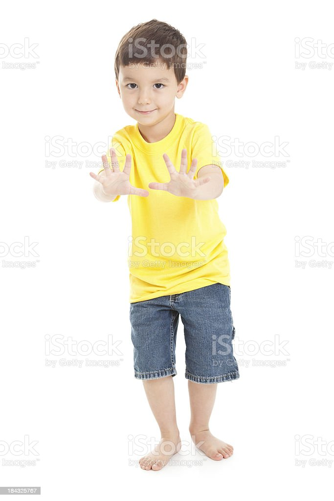 Little Boy With Hands Forward on White Background royalty-free stock photo