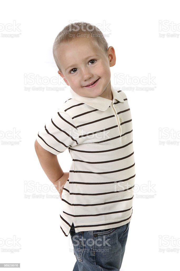 Little Boy With Hands on His Hip on White royalty-free stock photo