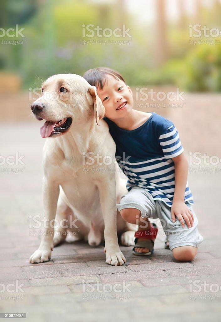 Little boy with Labrador retriever stock photo