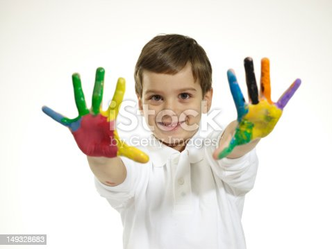 490853703 istock photo Little Boy With Painted Hands 149328683
