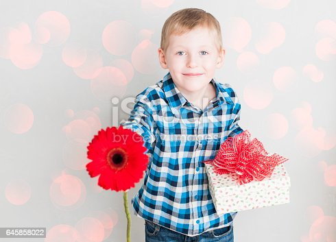 istock little boy with red flower and gift box 645858022