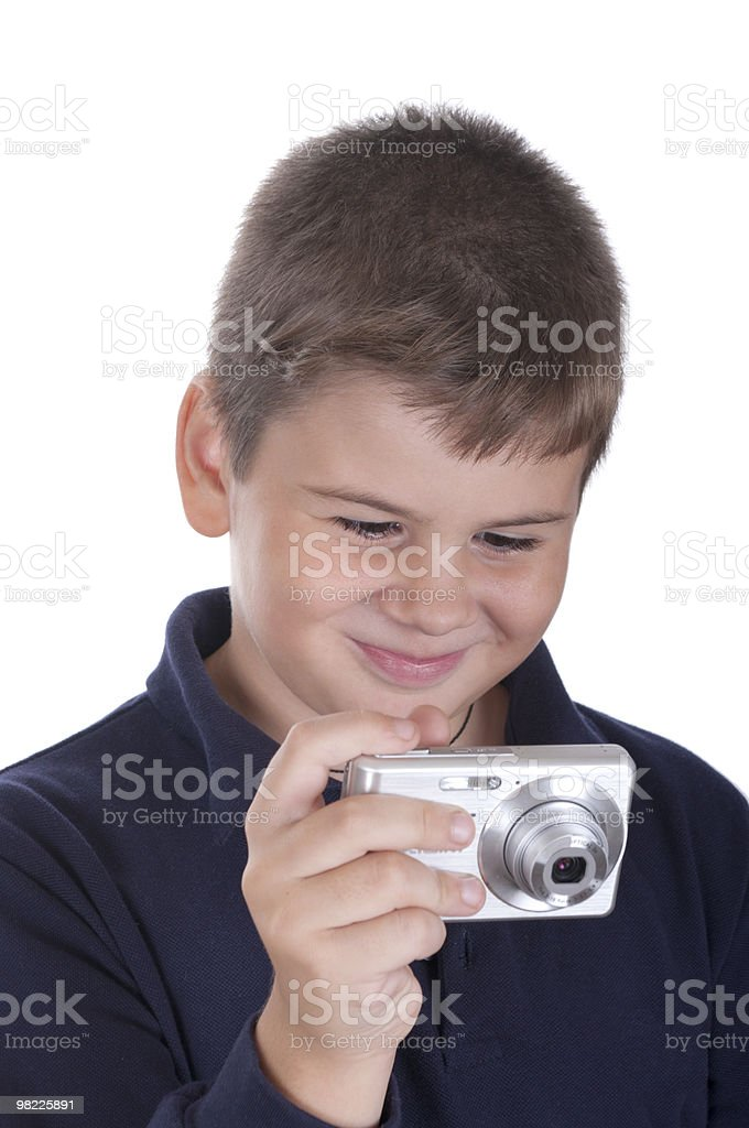 Little boy with the camera royalty-free stock photo