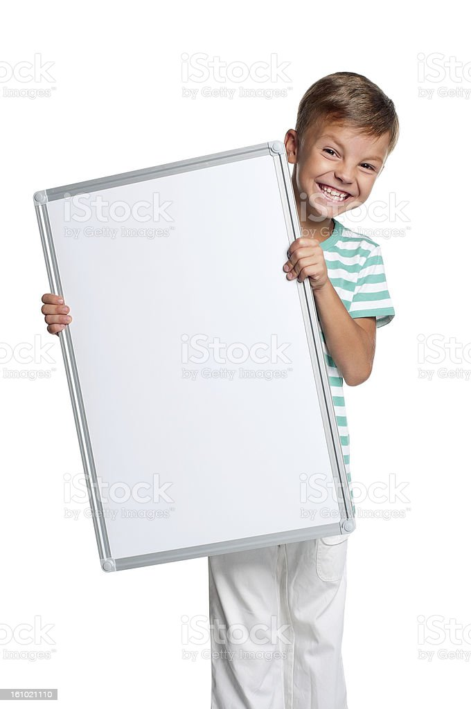 Little boy with white blank royalty-free stock photo