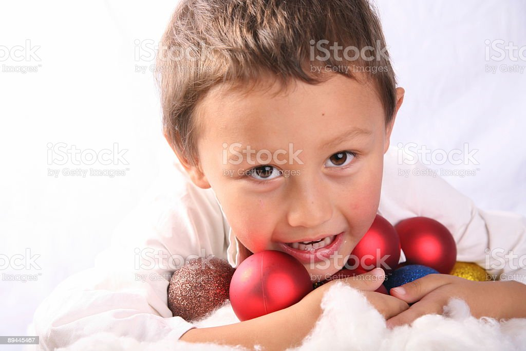 little boy with xmas balls royalty-free stock photo