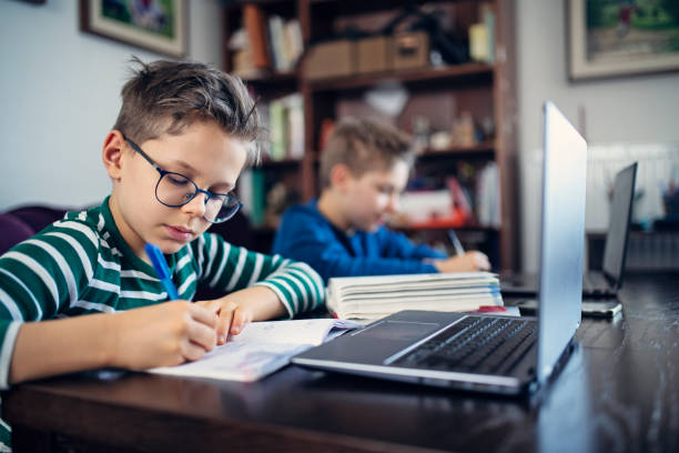 Little boys attending to online school class. stock photo