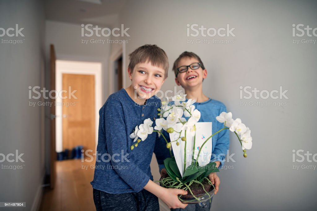 """Little boys carrying a flower for their mother It's mother's day. Two cute little boys aged 8 are carrying a surprise for their mother - a potted flower. Boy have put a """"For mummy"""" card in the flower. Nikon D850 8-9 Years Stock Photo"""