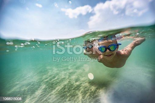 Split shot of little boys swimming underwater in sea Nikon D850