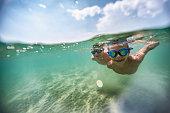 Split shot of little boys swimming underwater in sea\nNikon D850