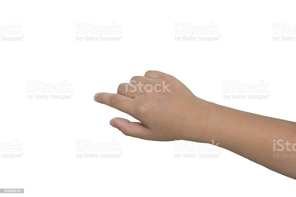 Little boy's hand touches the touch screen stock photo