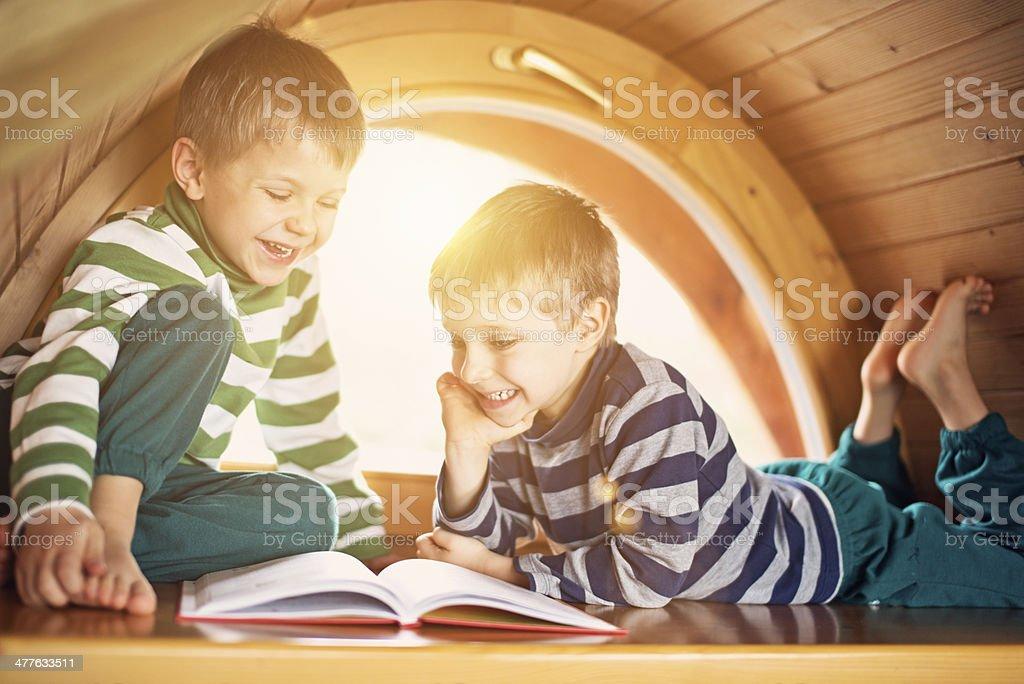 Little boys having fun reading. stock photo