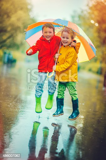 istock Little boys in rain 486007062