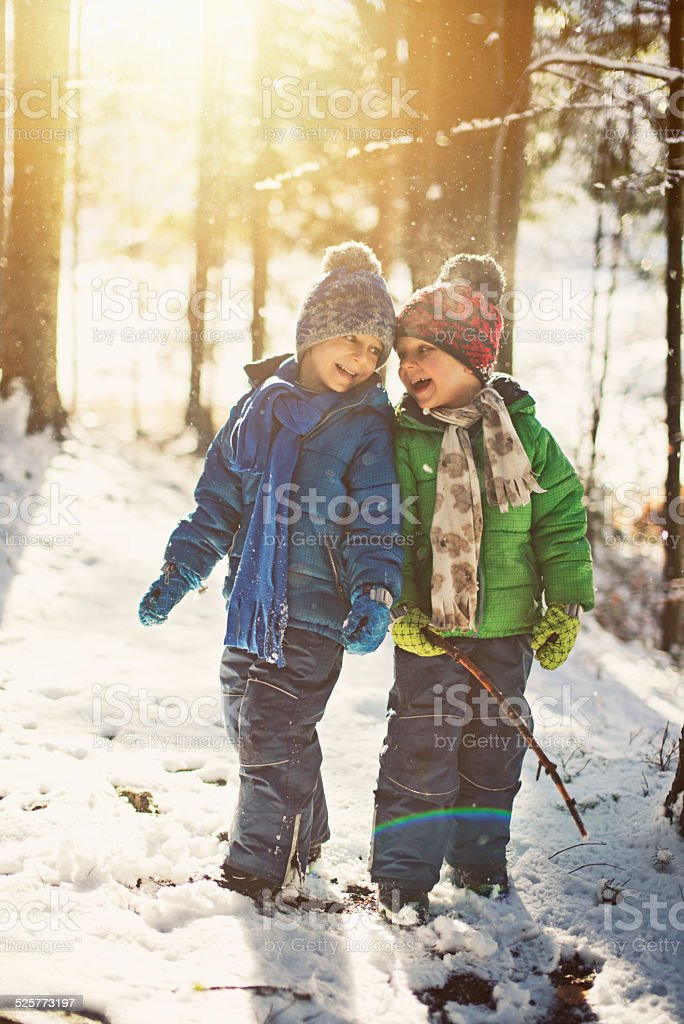 Little boys playing in winter forest stock photo
