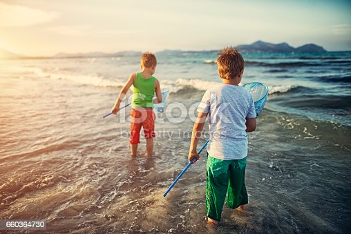 Little boys with fish nets trying to catch fish in the clean waters of mediterranean sea. The boys are aged 6.