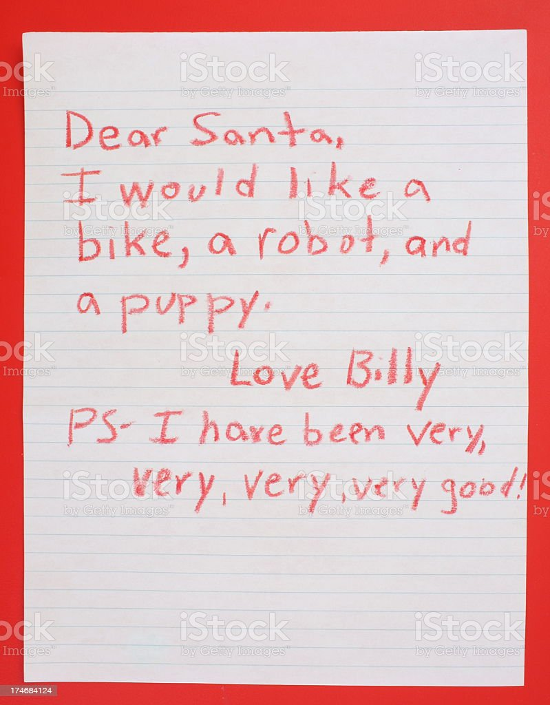 A little boys wish list for Santa royalty-free stock photo
