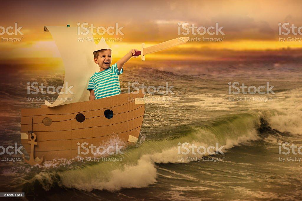 Little brave captain stock photo