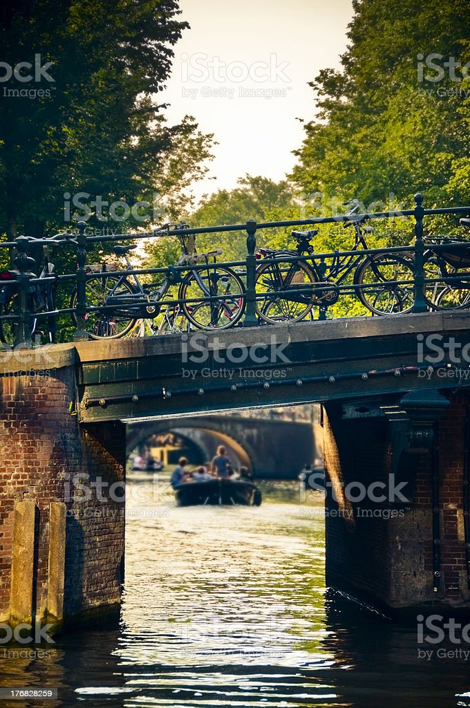 Little bridge in Amsterdam with bikes royalty-free stock photo