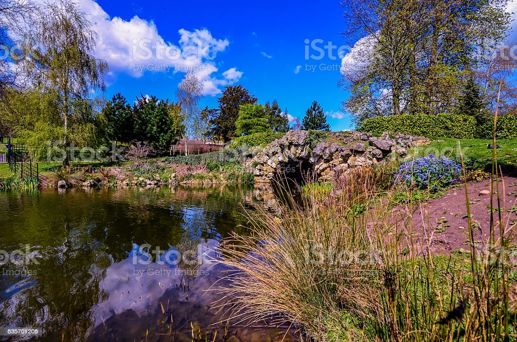 Little bridge in park royalty-free stock photo