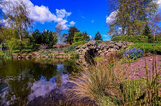 piccolo ponte nel parco - yorkshire meridionale foto e immagini stock