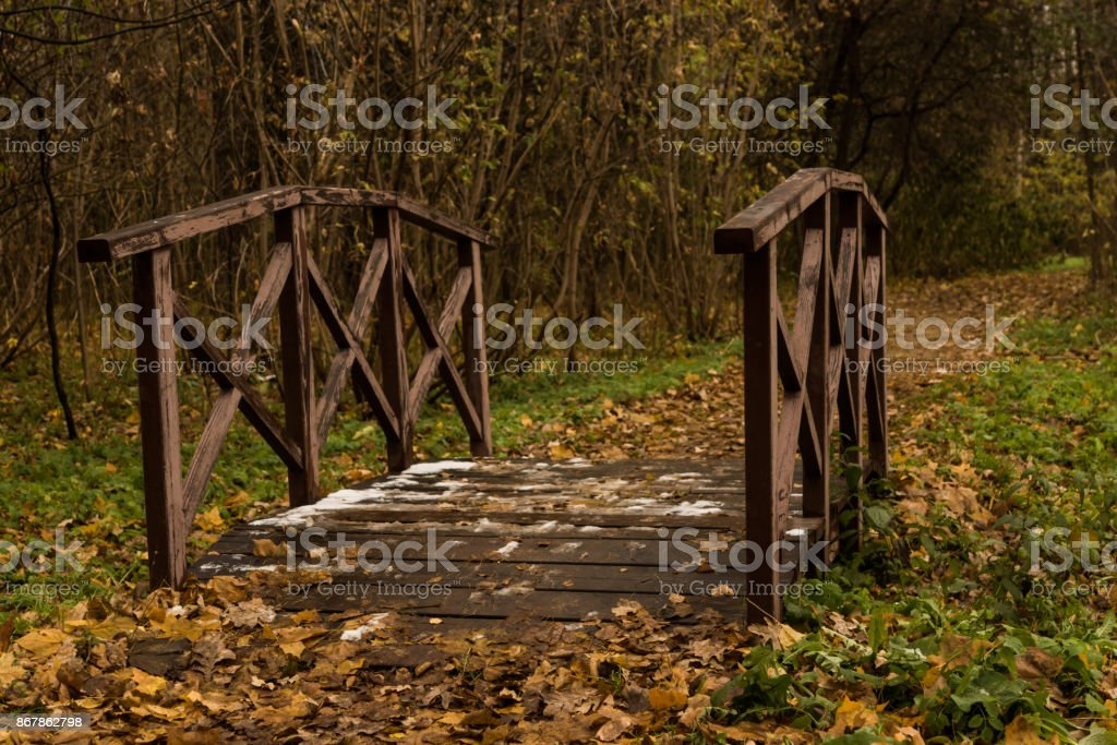 Little Bridge in the autumn park stock photo