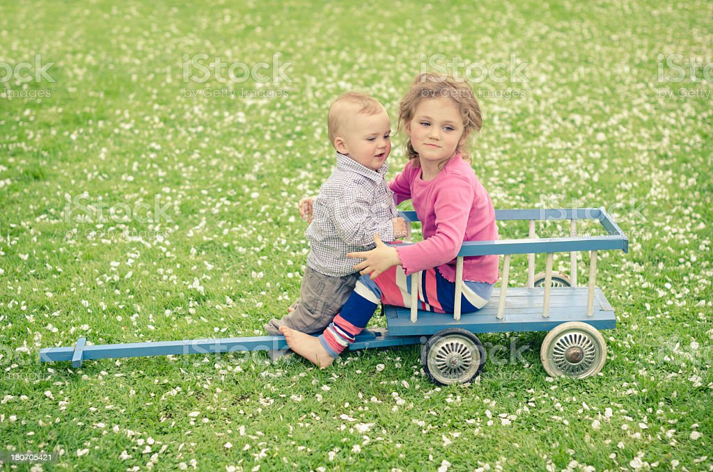little brother and sister royalty-free stock photo
