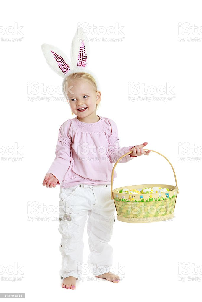 Little bunny girl with easter basket royalty-free stock photo