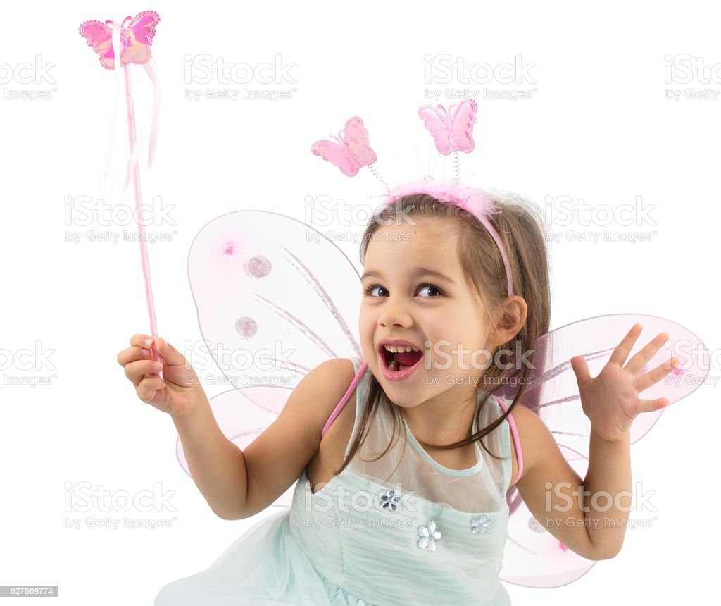 Little Butterfly Fairy Isolated On White Background stock photo