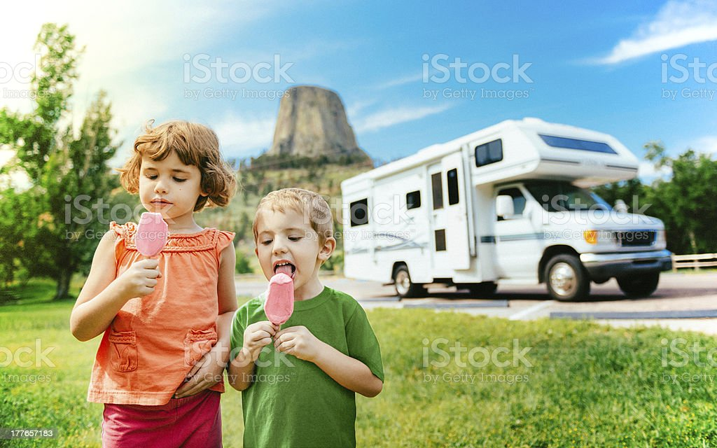Little Campers on Motorhome Road Trip stock photo