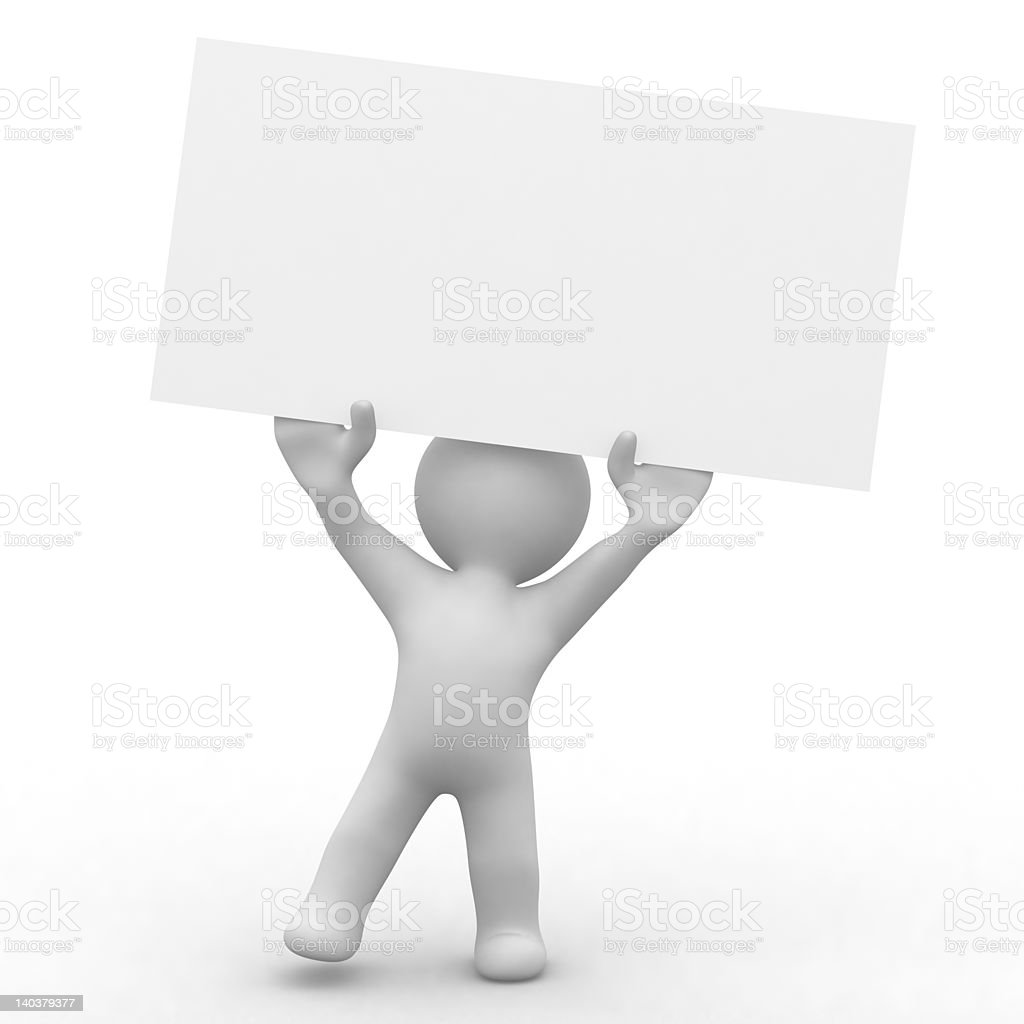 little card holder 3d little person,carry a blank card that is easy to write your own informations Abstract Stock Photo