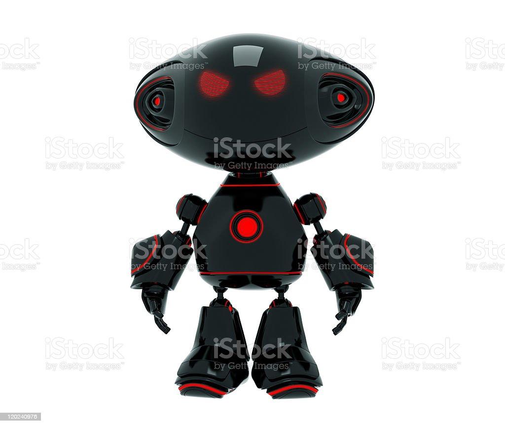 Little cartoon angry robot stock photo