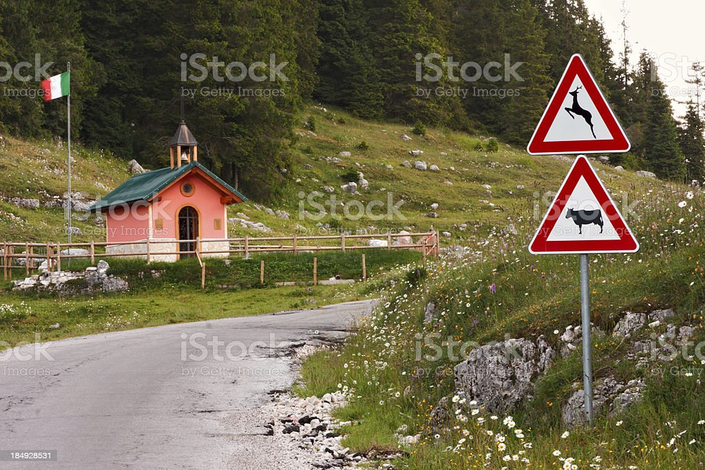 Little Catholic Church in the Alps. Asiago. Italy. royalty-free stock photo