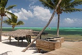 View of the beach and the stunning waters of Little Cayman in Cayman Islands