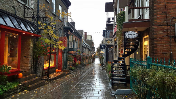 Little Champlain Rue du Petit Champlain in Quebec, Canada old town stock pictures, royalty-free photos & images