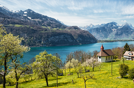 Little chapel high above Lake Walensee in Switzerland