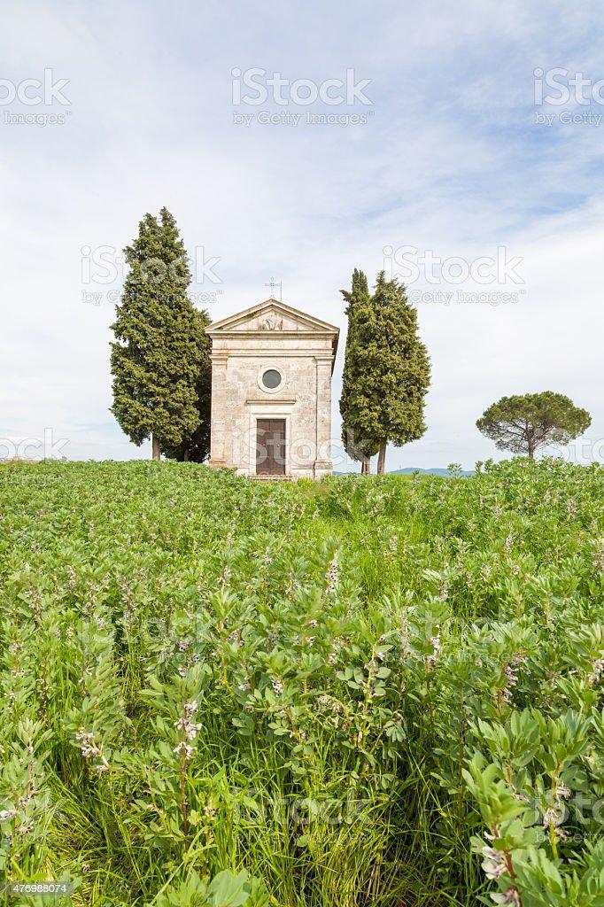 Little Chapel of Vitaleta, Val d'Orcia - Tuscany stock photo