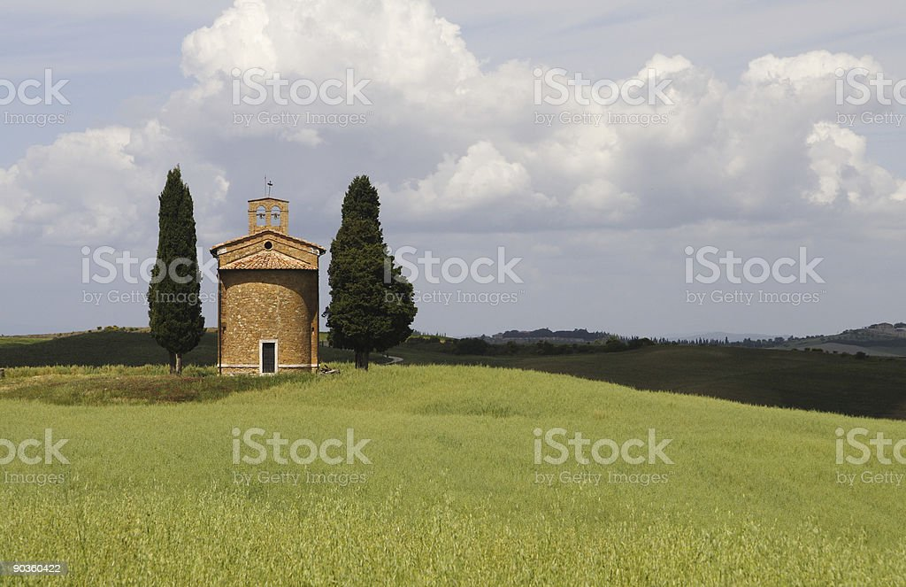 Little Chapel Vitaleta in Tuscany royalty-free stock photo
